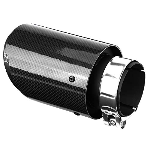 Qiilu Muffler Exhaust End Tip Pipes Carbon Fiber Style Tailpipe Muffler Tip for 2-2.5 Inch Inlet 3.5 Inch Outlet