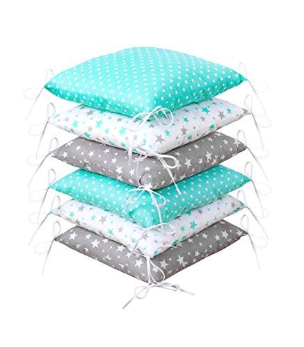Amilian Protector de bordes para cuna de bebé, suave, protección para los bordes de la cuna, 210 cm, para parque de juegos, cama infantil, cojín para habitación infantil (Design47)