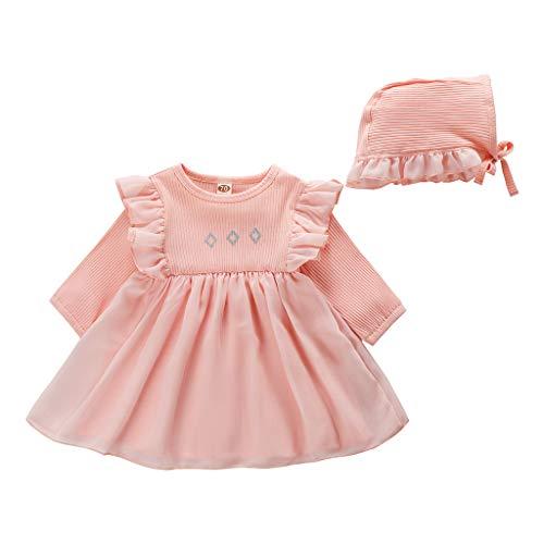 Neugeborene Baby Mädchen Spitzenkleid Prinzessin Tüll Outfits Hut Mütze Kleidung