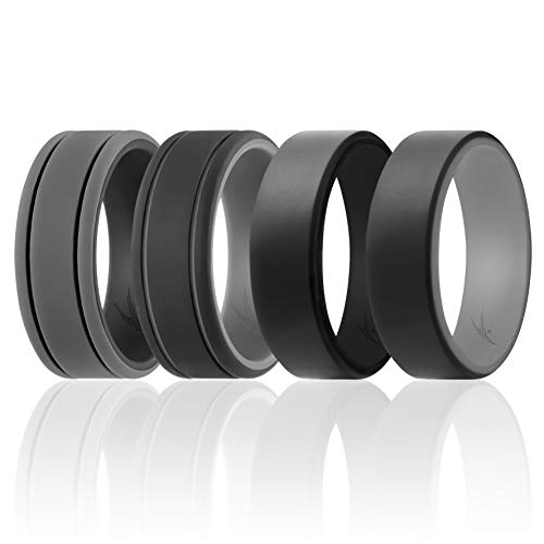 ROQ Silicone Wedding Ring for Men - Duo Collection Lines Style - 4 Pack Silicone Rubber Wedding Bands - Classic Design - Black, Grey Colors - Size 9