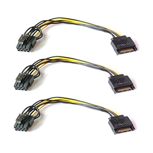 Confezione da 3 Adattatori di Alimentazione SATA da 8 Pollici con 15 Pin Maschio e 6 Pin Femmina PCI Express Scheda Video Adattatore Cavo Alimentazione Scheda Video per Host e Scheda Grafica