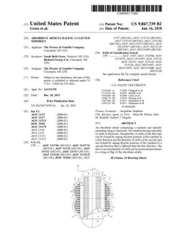 Absorbent article having a clefted topsheet: United States Patent 9867739 (English Edition)