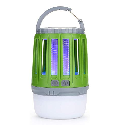 ZRZZ USB Repellent Lamp Portable 2 in 1 Tent Light Camping Lantern Rechargeable LED Electric Shock Mosquito Killer Lamp Green (13.3 x 7.3 cm)
