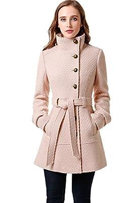BGSD Women's Wool Blend Belted Walking Coat Blush X-Small by BGSD