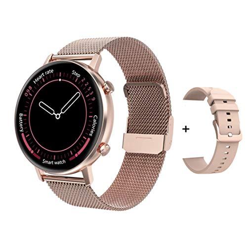 susnov tech Oferta! Fino Smartwatch Dama dt96 Notificaciones, Oxigeno, Salud, Deportes para iPhone y Android Dorado con 2 Correas, Mujer
