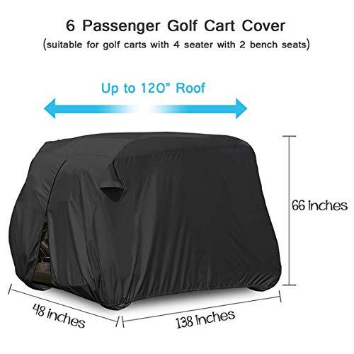 moveland 6 Passenger Golf Cart Storage Cover Compatible with E Z GO, Club Car, Yamaha - Dustproof & Durable