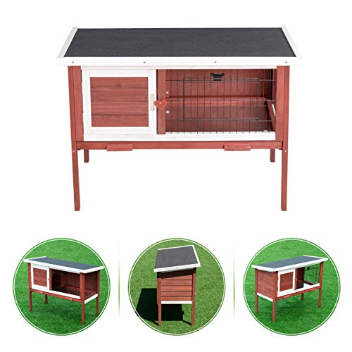 PETSJOY Rabbit Hutch, Wood Chicken Coop, Outdoor Garden Backyard Bunny Cage with Connected Run & Pull Out Tray, Easy Cleaning - Suit for 1 Rabbit/Chicken, Auburn & White