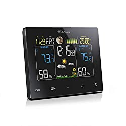 Wittime 2077 Weather Station, Wireless Indoor Outdoor Thermometer, Calibrable Digital Barometer with Weather Forecast, Temperature and Humidity Monitor Gauge, Alarm Clock and Moon Phase