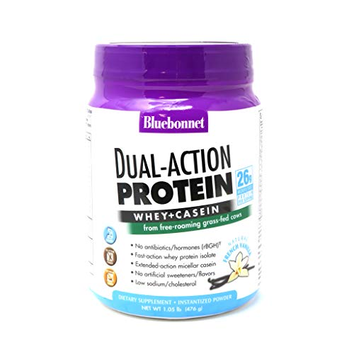Bluebonnet Nutrition Dual-Action Protein Powder, Whey from Grass Fed Cows, 26 Grams of Protein, No Sugar Added, Non GMO…