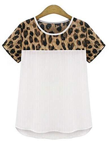 goldenharvest GOODH Womens Leopard Print Plus Size Tops Camisetas de Manga Corta de Gasa Casual tee…