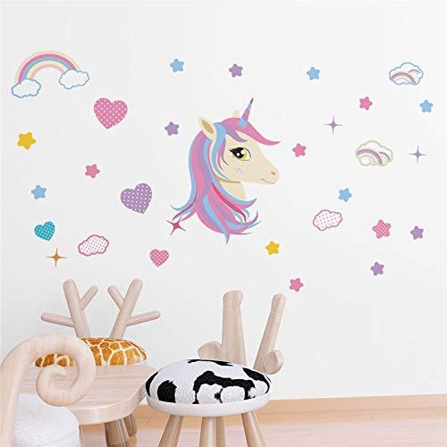 GVC Dibujos Animados Unicornio Arco Iris Nube Estrella Pegatinas de Pared para Habitaciones de niños guardería decoración para el hogar 45 * 60 cm Tatuajes de Pared PVC Mural Art DIY Carteles