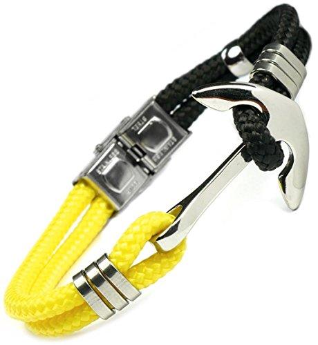 Lufetti Armband Anker Edition Schwarz Gelb Nylon Edelstahl Verschluß verstellbar (GR 22 schwarz-gelb)