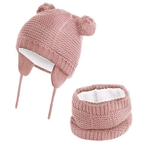 Hawiton Pack Bonnet et Écharpe Chapeau Tricoté avec Cache-oreilles pour Enfant Bébé Fille et Garçon, Hiver Automne, L, Rose