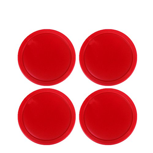 Best Buy! Ellen Tools Set of 4 Red Home Standard Air Hockey Pucks -- Large Size for Adults 2.95 inch...
