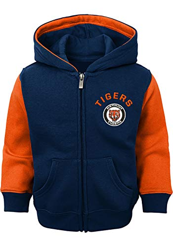MLB Infants Toddler Fielder Primary Logo Full Zip Hoodie (4T, Detroit Tigers Navy Cooperstown)