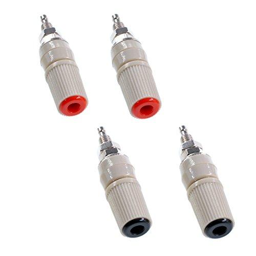 Oiyagai 4Pcs M5 High Current 5mm Female Banana Socket Binding Test Plug Post Connector (2 Red + 2 Black)