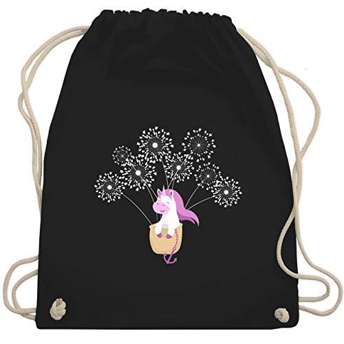 Shirtracer Up to Date Kind - Einhorn Pusteblume - Unisize - Schwarz - turnbeutel pusteblume - WM110 - Turnbeutel und Stoffbeutel aus Baumwolle