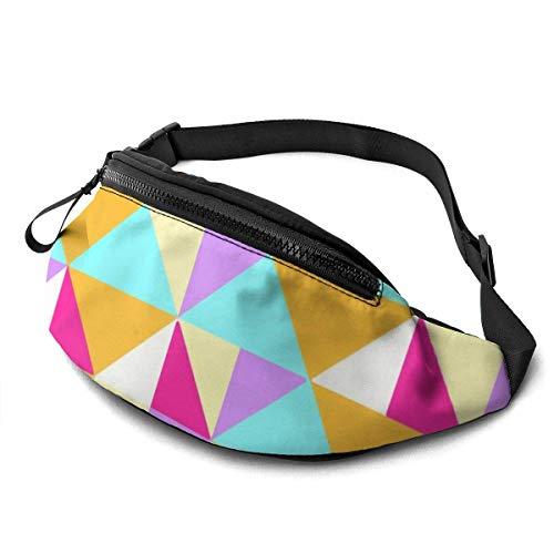 XCNGG Bolso de cintura corriente bolso de cintura de ocio bolso de cintura bolso de cintura de moda Abstract Rainbow Geometric Waist Bag Pack Sturdy Zippers Running Belt Large Capacity Waist Pouch Bag