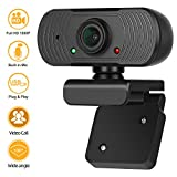 Full 1080P HD Webcam with Microphone, Video Streaming Web Camera for YouTube Skype - Widescreen USB Computer Camera for PC Laptop Desktop Meeting Calling