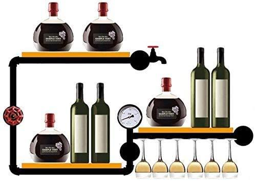 COLiJOL Estante para Vinos Estante para Vinos Montado en la Pared para Botellas de Vino Vasos de Copas Elegante Alenamiento de Madera Bodega Estante para Botellas de Vino Montado en la Pared Soporte