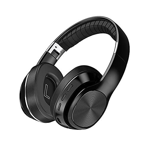 Auriculares inalámbricos, Bluetooth 5.0 sobre la oreja con graves profundos, auriculares estéreo de alta fidelidad con micrófono, modo cableado/TF para smartphone, PC, TV de viaje (negro)