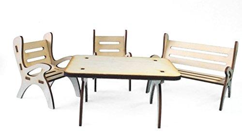Petra's Bastel News 4-teilige Tischgruppe, bestehend Tisch, 1 x Gartenbank und 2 Stühle aus Holz Höhe ca. 6cm