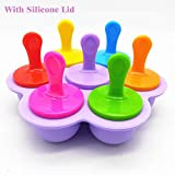 Popsicle Molds Silicone Ice Pop Molds Maker with Lids Sticks and Drip Catcher...