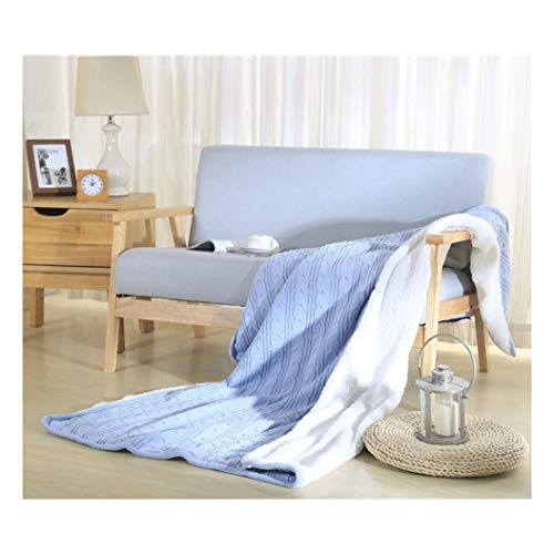WARMTH IN THE DISTANCE Blanket, 100% Cotton Best Winter Warmer for Couch Cover Sofa Chair Bed Bedspread Picnic Tailgate Stadium RV Glamping Camping, 120X180cm (Color : Blue, Size : 120X180cm)