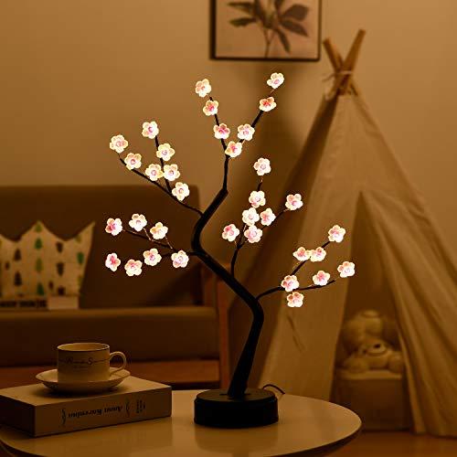 Plum Tree lamp - Fairy Light Spirit Tree - Artificial Bonsai Tree Light - Lit Tabletop Tree,Battery USB Operated,Fairy Tree Lamp for Bedroom,Party Home Decoration,Wedding Gift(Pink Plum Tree lamp)