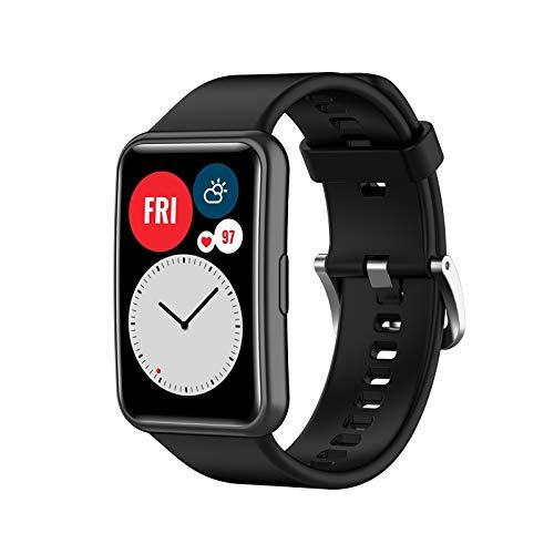 KZIOACSH Correa de Reloj de Silicona Compatible con Huawei Watch FIT,Suave, Transpirable y Flexible, fácil de Instalar, Correa para Reloj Deportivo,Negro