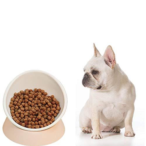 Real Pet Bulldog Bowl- Anti-Slip Dog Cat Dish Detachable Rubber Dog Bowl Pet Sterile Tilted Pet Feeder Slope Base