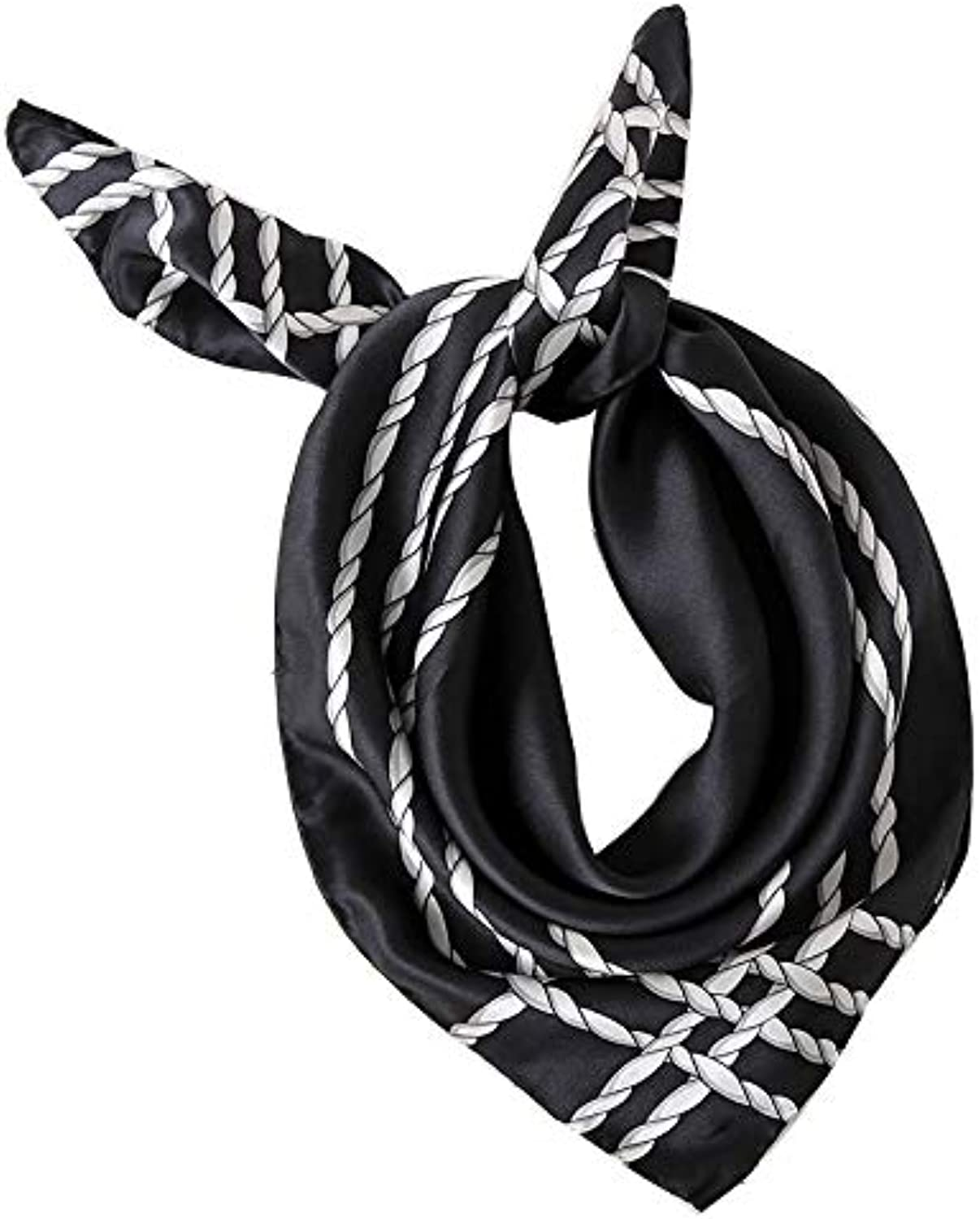 100% Silk Scarf Handmade Curling Small Square Towel Quality Silk Scarf Short Scarf Shawl Ladies Silk Scarf, 66CM66CM (color   Black)