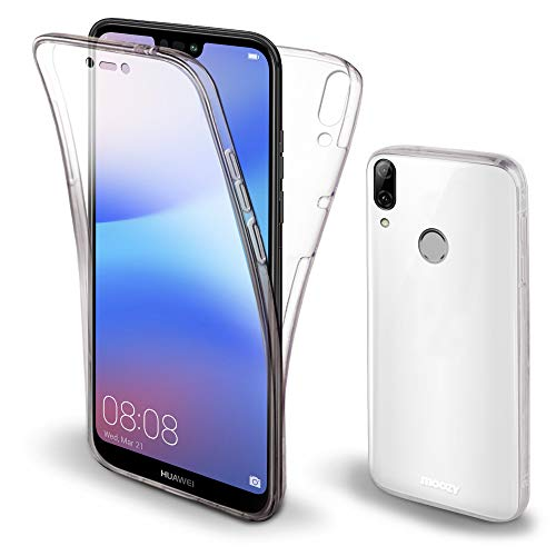 Moozy Cover Protezione 360 Gradi per Huawei P20 Lite Silicone Trasparente - Full Body Custodia TPU Case Copertura Completa
