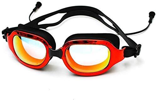 Plztou Gafas de natación electrochapada Impermeable a Prueba de Polvo Anti Niebla de Trama Grande Piscina de Silicona Gafas de Buceo Tapones for los oídos for Adultos for al Aire Libre