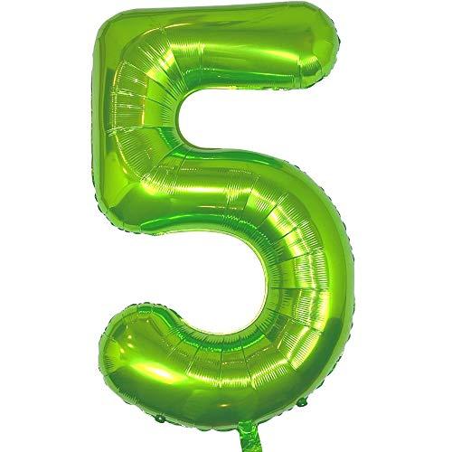 DIWULI, Globos gigantes XXL con número 5, globos verdes, globos con número número 5, globos grandes para 5º cumpleaños, decoración para fiestas, decoración, decoración de regalo