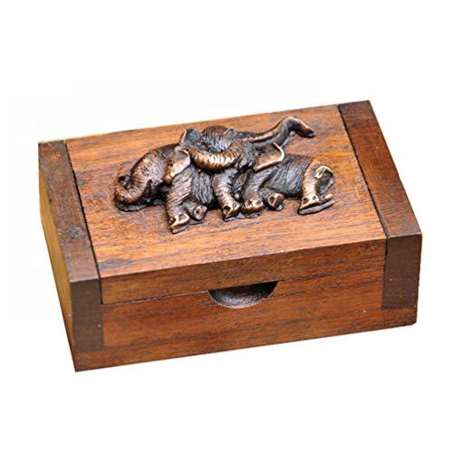 VOSAREA Zahnstocherhalter Holz Tragbar Elefant Muster Zahnstocherspender Zahnstocher Container Toothpick Jar Wattestäbchen Aufbewahrungsbox für Home Hotel Restaurant