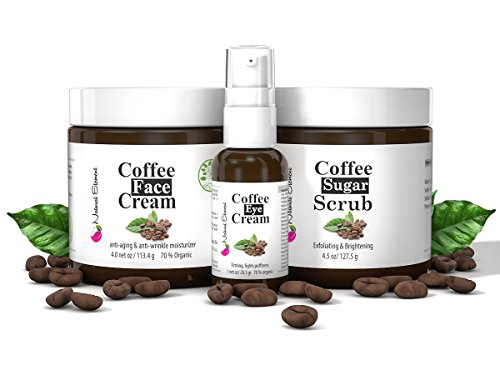 Anti-Aging, Anti-Wrinkle Skin Care Kit, 3-Piece Set, Face Moisturizer 4oz, Eye Cream 1 oz, Face Scrub 4.5oz, all Natural and Organic with the Benefits of Coffee