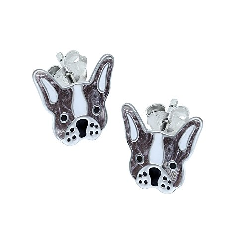 French Bulldog Earrings - Grey and White - Sterling Silver Gift