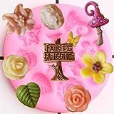 FGHHT Molde de Silicona para jardín de Hadas, Adorno para Cupcakes de Flores, Molde para Fondant,Herramientas de decoración de Pasteles de cumpleañosDIY,Molde de Arcilla de Chocolate y Caramelo