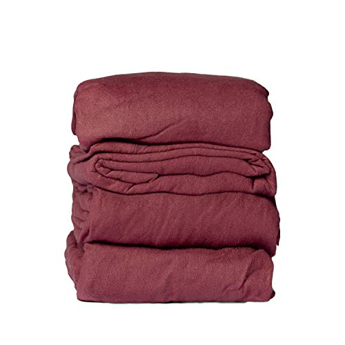 Mayfield Camping Accessories 4 Piece RV King Sheets Set - Fits 72 x 80 RV King Mattress 100% Cotton Flannel Camper Sheets - Burgundy Dark Red Sheets - Made in USA Camping Bedding
