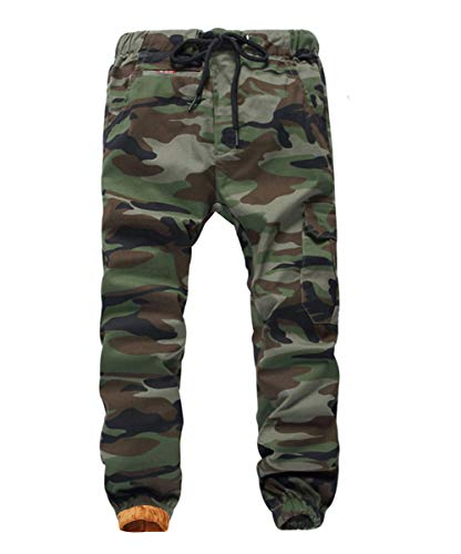YoungSoul Jungen Gefütterte Cargohose - Camouflage Jogginghose Kinder - Thermohose Kleinkindr mit Gummizug, Armeegrün Regular, Größe 130/116-122