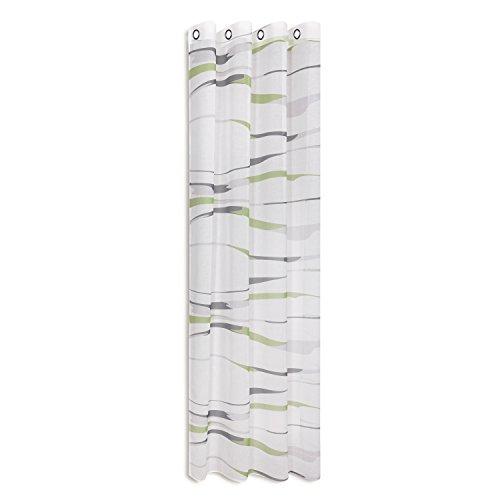 mein-gardinenshop.de Vorhangschal/Gardine/Vorhang/Ösenschal Stripes/B/H: 140x245cm / halbtransparente Qualität/mit bedruckten Querstreifen/moderner Ösenschal 40mm (grün)