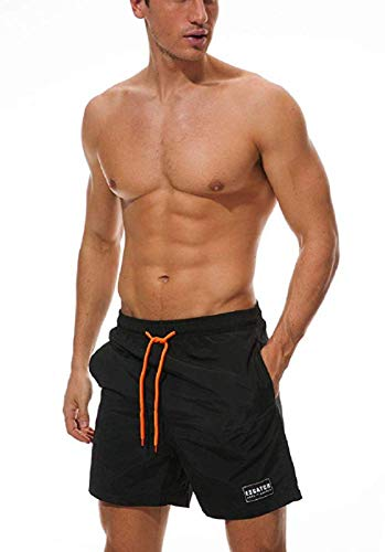Ducomi Ben Badehose für Herren - Triple Pocket Schwimm und Poolshorts - Elastische und Schnell Trocknende Shorts für Die Innere Netzhaut. Boxer zum Beachvolleyball, Strand und Surfen (Black, M)