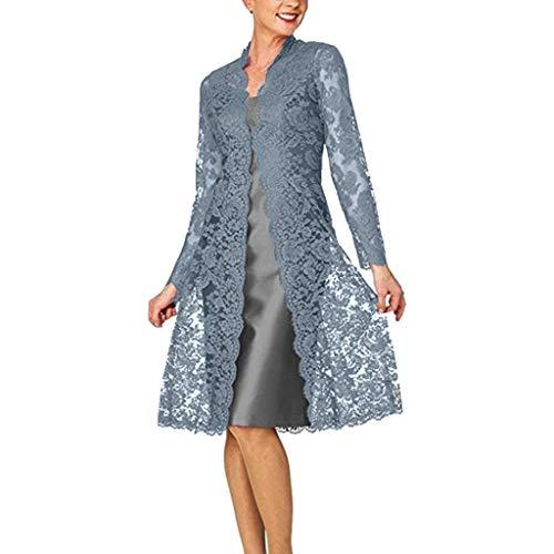 cinnamou Schlichtes Kleid Damen Zweiteiliges Strickkleid aus Spitze Zwei Stücke charmante einfarbige Mutter der Braut Spitzenkleider