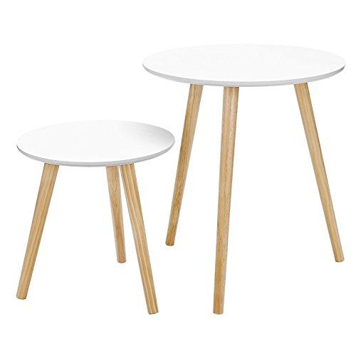 SONGMICS Mesas auxiliares nórdicas, Juego de 2 mesas de café, Mesaits de Centro para salón, Mesas...