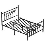 VASAGLE Queen Size Metal Bed Frame with Headboard, Footboard, No Box Spring Needed, Platform Bed, Under-Bed Storage, Victorian Vintage Style, Black