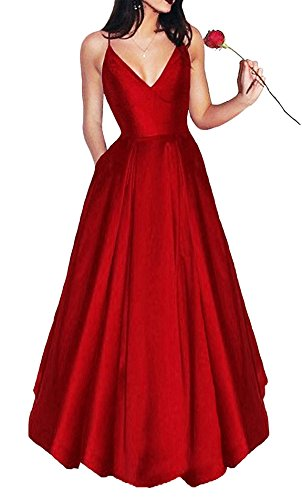 Bonnie Women's V-Neck Homecoming Dress 2017 Long Spaghetti Straps Satin Prom Party...
