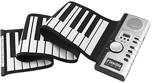 61 toetsen 128 Tones Roll Up Electronic Piano Keyboard Portable Digital Keyboard Piano Flexibele Oplaadbare Musical Instrument (Kleur: Zwart) 8bayfa (Color : Black)
