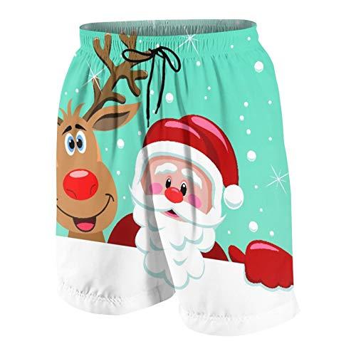 SUHOM Uomo Casuale Pantaloncini da Surf,Cartone Animato di Babbo Natale con Babbo Natale Divertente e Renna dal Naso Rosso,Costume da Bagno Sportivo Abbigliamento da Spiaggia con Fodera in Rete