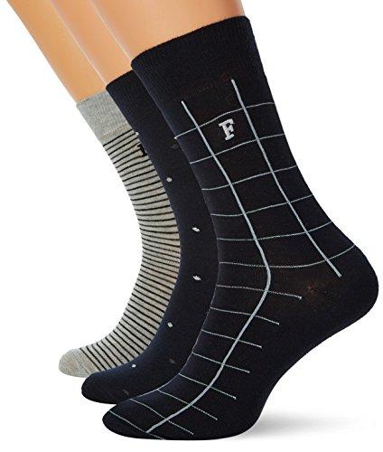 French Connection Herren 3 Pack Waterfall Socken, Mehrfarbig (Mrnspot/Blkstrp/Gyck 92), Einheitsgröße (3er Pack)